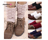 New Women Ladies Winter Warm Leg Warmers Cable Knit Knitted Crochet Boot Socks