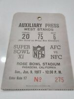 1977 Super Bowl XI media pass - ticket NFL football nfc afc rose bowl