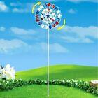 4 Ft Patriotic Wind Spinner Metal Pinwheel Stake Garden Yard Ornament 4th July