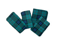 Springs Vintage 4 Piece Twin Bedding Set Green Blue Plaid Sheets & Pillowcases
