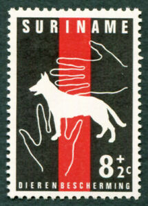 SURINAME 1962 8c+2c red and black SG515 mint MH FG Animal Protection Dog #A02