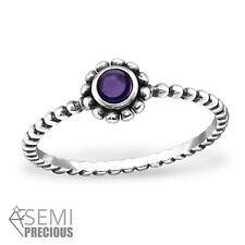 925 Sterling Silver Round Circle Amethyst Bubble Band Ring Women Size  7 8