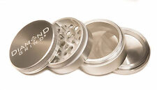 "DIAMOND GRIND 2.50"" Aluminum 4 piece herb Grinder w/screen 63mm SILVER"