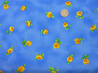 Quilting Fabric Small Yellow Roses Blue Background 100% Cotton Fat Quarter