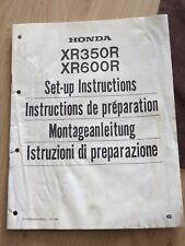 Original factory Set-up Manual Instructions Honda XR350R  XR600R   1985