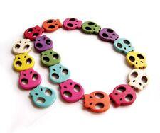 1Pcs Skull Multi-color Howlite Turquoise Beads Strand--18Beads