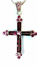 BLOOD RED GOTHIC / TRADITIONAL CROSS NECKLACE SILVER CHAIN QUICK DELIVERY!!