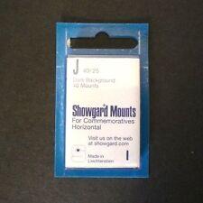 Showgard Stamp Mounts Size J 40/25 BLACK Background Package of 40