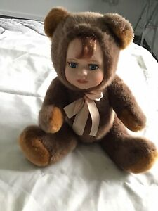 Vintage Porcelain Human face PLAYMAKERS  Teddy Bear Soft Toy Plush