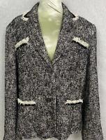 Talbots  Women's Size Large Jacket Lined Blazer Black/White Pockets Cotton Blend