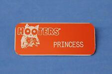 HOOTERS RESTAURANT GIRL PRINCESS ORANGE NAME TAG / PIN - Waitress Pin