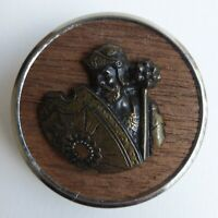 Bouton ancien - Laiton - Fond Bois - 43 mm -  Escutcheon Wood Button