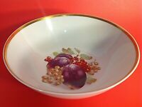 """VINTAGE BOWL HAND DECORATED PLUMS & GRAPES 9 1/2""""W. GOLD BAND CABINET DISPLAY"""
