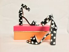Women's KATE SPADE Size 5 M Idabelle Too Patent Leather Polka Dot Heels Sandals