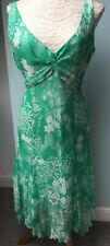 Coast 14 Dress Green Floral Silk Races Wedding Light Floaty Party White Flippy