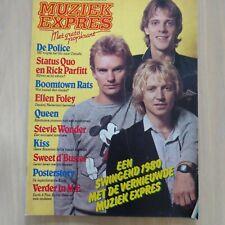 MUZIEK EXPRES - JAN. 1980/  QUO, POLICE, KISS, QUEEN,KINKS POSTER, H. BROOD