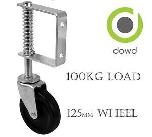 """HEAVY DUTY Spring Loaded Gate Castor 125mm (5"""") hard black rubber wheel 100kg"""