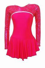 Skating Dress - Pomegranite lycra/ pom &silver hol skate/dance dress  SALE SALE