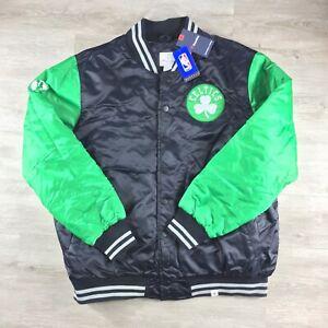 Boston Celtics Fanatics Tackle Twill Satin Jacket - Black/Kelly Green - Sz: XXL