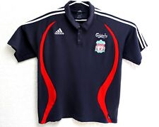 ADIDAS CLIMALITE Men's XL Blue Carlsberg Liverpool Football Short Sleeve Shirt