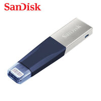 SanDisk iXpand Mini 128GB OTG Drive USB3.0 & Lightning for iPhone SDIX40N - Blue