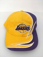 NBA Los Angeles Lakers Hat Men One Size Purple Yellow Strab Back Flame Tooth