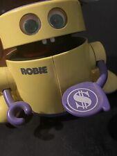 Vintage Radio Shack Robie The Banker Robot Robotic Coin Bank WORKS Purple Robie