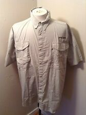 Columbia PFG Professional Fisherman Shirt Sz XXL Mesh Vented 4 Pockets EUC Brown