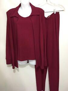 TravelSmith Women PS Raspberry 3 Piece Pants Suit Jacket Tank Top Pants USA Made