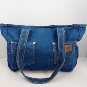 Yak Pak Wrangler Blue Jeans Canvas Shoulder Bag Purse Tote with Front Pockets