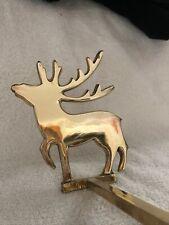 Brass Reindeer Christmas Stocking Hanger Holders Long Arm Vintage