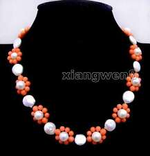 18-20mm Pink Flower 17'' Necklace -nec6221 Sale 12-13mm Coin Round White Pearl &