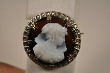 BROCHE ANCIEN OR MASSIF 18K ARGENT CAMEE CORNALINE DIAMONDS ANTIQUE CAMEO BROOCH