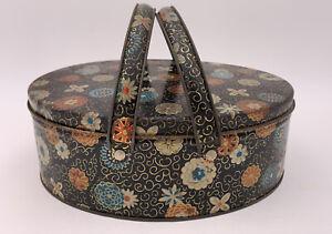 Vtg Black W/Floral Pattern Oval Double Handle Metal Tin W/Basket Handles