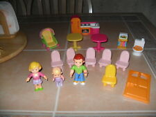 Fisher Price My First Dollhouse Dolls Furniture Door Lot OF 16 Pieces in All