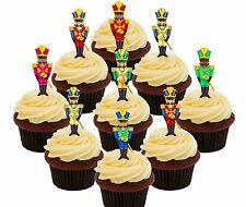 Nutcracker Edible Cupcake Toppers 24 Christmas Precut Fairy Cake Bun Decorations