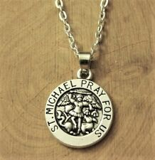 """ST. MICHAEL """"Pray for Us"""", Round, Charm, Pendant & .925 Silver Necklace - P981"""