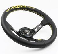320mm Leather Deep Dish Steering Wheel Vertex Style YELLOW Nardi Drift Universal
