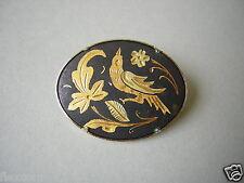Kleine Toledo goldfarbene Brosche Vogel/Blumen Motiv 6,0  g / 3,0 x 2,3 cm