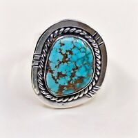 Sz 13 Navajo Native American Sterling 925 Silver cripple creek Turquoise Ring
