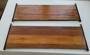 2 Antique Gunn Barrister Bookcase Shelves with Metal Inserts
