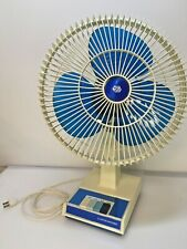 "VINTAGE LAKEWOOD FAN 12"" OSCILLATING 3-SPEED w/ TRANSPARENT BLUE BLADE CLEAN"