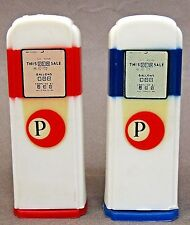 1950's PACIFIC FARMERS COOP pair of matched GAS PUMP salt & pepper shakers *