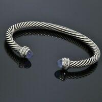 David Yurman Sterling Silver 5mm Diamond Blue Chalcedony Cable Classic Bracelet