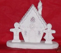 Ready to Paint Ceramic Bisque Gingerbread House lights up