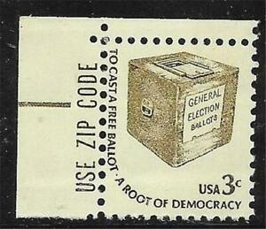 0v0435 Scott 1584 US Stamp 1977 3c Early Ballot Box Americana with Zip Selvage