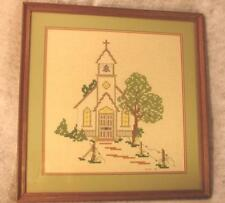 Framed Handcrafted Needlepoint Religious Church Picture ~ Religious Church