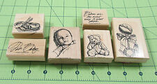 Stampin Up Soft & Sweet Stamp Set of 6 Baby Bootie Rattle Teddy Bear 2002