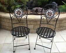 MOSAIC TILED METAL FOLD UP CHAIRS. SET OF TWO. NEW.