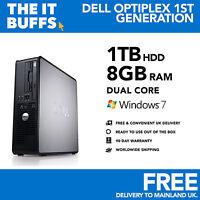 Dell - Dual Core 8GB 1TB -1.5TB HDD Windows 7 - WiFi - Desktop PC Computer